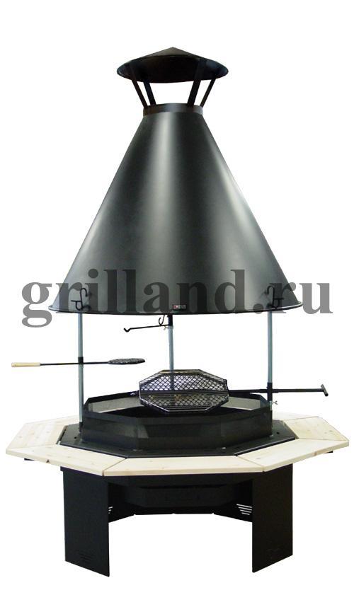 Гриль стол с вытяжным куполом и дымоходом мангал с дымоходом и навесом